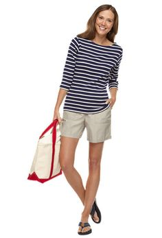 090920271d210 French Sailor Boatneck with Sunwashed Canvas Shorts | Free Shipping at  L.L.Bean Casual Chic Summer
