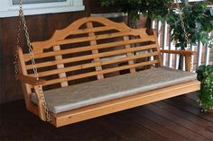 Amish Cedar Wood Marlboro Swing Swing, relax and enjoy time outside on a Marlboro swing made with beautiful cedar wood. American made wood furniture for outdoors. #porchswing #outdoorswing