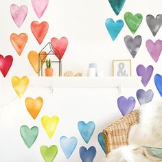 Polka Dot Wall Decals, Polka Dot Walls, Kids Wall Decals, Rainbow Room Kids, Rainbow Bedroom, Light Grey Paint Colors, Rainbow Wall Decal, Watercolor Heart, Rainbow Decorations