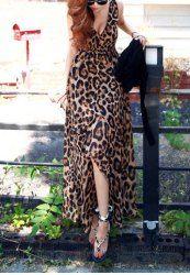 $11.24 Sexy V-Neck Sleeveless Leopard Print Elastic Waist Irregular Hem Dress For Women