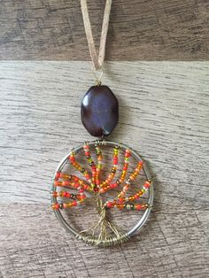 Gold Wire Wrapped Tree of Life Necklace Orange by EssenceAndEarth