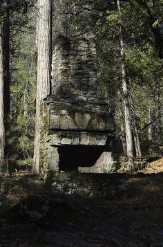 """Hearth at Yosemite.  """"The stone chimney belongs to the Civilian Conservation Corps (CCC) camp (Cascade Camp) that was in the 30′s located near the Old Big Oak Flat Road and Ribbon Creek... The chimney is nearly all that remains of the camp..."""""""