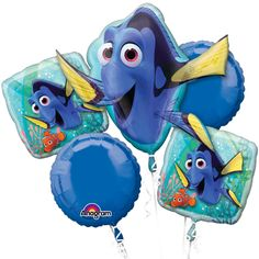 Finding Dory Bouquet of Balloons, finding dory party decor, dory, dory balloon, finding dory birthday