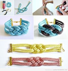 friendship bracelet patterns, bracelet knots instructions, square knot bracelet two colors, how to tie a bracelet knot, square knot hemp bracelet Bracelet Knots, Braided Bracelets, Cord Bracelets, Diy Bracelet, Diy Necklace, Crochet Necklace, Jewelry Crafts, Handmade Jewelry, Diy Collier