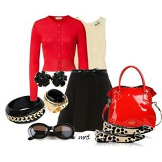 Red cardigan and Black skirt Outfit