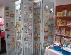 Use shutters to display photos of your work or cards, invitations, garland samples.