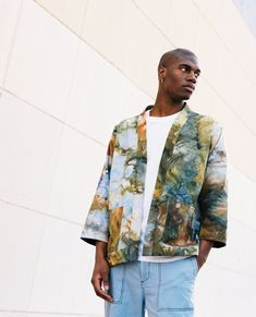 Kimono Coat in Marine - riverside tool & dye Denim Jacket Patches, Kimono Coat, How To Tie Dye, Denim Cotton, Korean Street Fashion, Streetwear Fashion, Street Wear, Menswear, Street Style