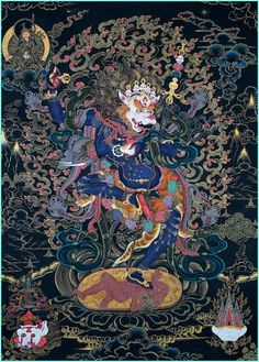 The thangka, scroll painting, is the unique religious art of Tibetan Buddhism. Nick Dudka is well known thangka painter. Nick works on these religious art more then 30 years. Tibetan Art, Tibetan Buddhism, Buddhist Art, Vajrayana Buddhism, Thangka Painting, Ga In, Tantra, Religious Art, Black Magic