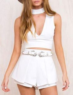 #fashion #accessories Sexy Choker Crop Top in Plunge Front   White by Moda Tendone - Croptops Clothes, Croptop, Fashionable, White, Women