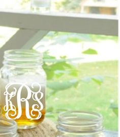 Monogrammed Mason Jar Glasses - put colorful crazy straws in them and you've got a fun party favor!