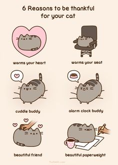 6 Reasons to be thankful for your cat ~ Happy Thanksgiving (2015) from Pusheen the Cat [animated]