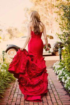ravishing red evening gown back view ruffles