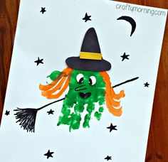 Learn how to make a handprint witch craft for kids! All you need is paint, paper, and a black sharpie to make this fun Halloween art project.