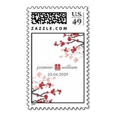 Red Sakuras & Double Happiness Wedding Stamps