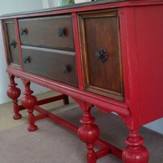 Rich & Red Buffet.  via Etsy.