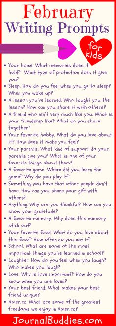 Help students take the time to appreciate the many positive aspects of their lives with these new February writing prompts for kids! #FebruaryWritingPrompts #KidsWritingPromptsForFebruary #JournalBuddies Paragraph Writing, Narrative Writing, Informational Writing, Opinion Writing, Persuasive Writing, Valentines Writing Prompts, Writing Prompts For Kids, Writing Tips, Writing Challenge