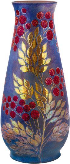 Zsolnay - Vase with flower-décor, Zsolnay, around 1900