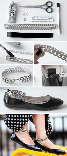 Interesting and Easy to make DIY Shoe Projects - DIY Chain Ankle Strap Flats-- I have so many flats i could do this for!!! :O