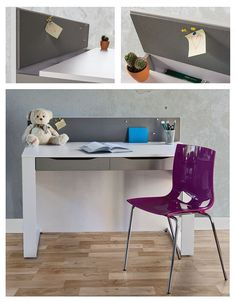 Desk for young people. It has pinboard and functional  hiding place to storage different objects.