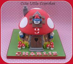 Smurf giant cupcake