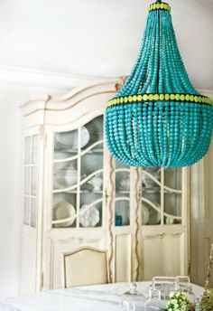 I think I could find a place for this.  Turquoise and chartreuse chandelier.