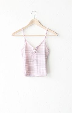 - Description Details: Striped lace up crop top in mauve/white with adjustable front tie & straight back. Form fitting, tend to run on the smaller side & are more fitted. Measurements (Size Guide): S: