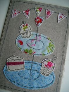 Handmade Cake Stand Fabric Card Birthday by SewSweetbySuzanne, Embroidery Cards, Free Motion Embroidery, Free Motion Quilting, Embroidery Applique, Fabric Cards, Fabric Postcards, Freehand Machine Embroidery, Free Machine Embroidery, Sewing Cards