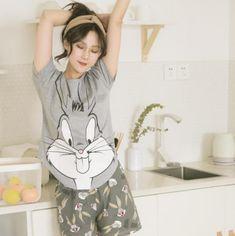 03041dae91 Short pants short sleeve tops pajamas sets cotton nightwear big yards  cartoon pyjamas women summer Review