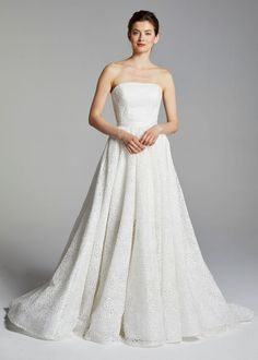Cocktail strapless floral embroidered A-line wedding dress with overskirt. | Anne Barge | Style: REESESKIRT