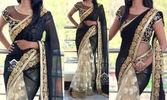 Looking to shop plain georgette sarees with designer blouse? Here are 10 chic blouse ideas/designs that can make your plain saree look totally fashionable. Blouse Back Neck Designs, Saree Blouse Designs, Chiffon Saree Party Wear, Party Wear Sarees, Plain Georgette Saree, Kajal Agarwal Saree, Beautiful Indian Actress, Beautiful Saree, Blouse Models