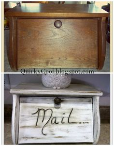 Thrifted $3 breadbox turned in to a mail slot. http://quirkycool.blogspot.com/2013/06/upcycled-bread-box.html