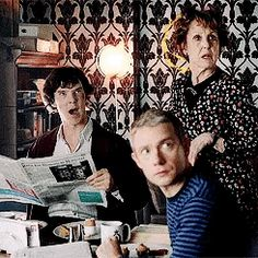 Hudson to shut up! Especially not in front of Sherlock or John! Benedict Sherlock, Sherlock Bbc, Benedict Cumberbatch, Watch Sherlock, Bbc Tv Series, Best Series, Florent Mothe, Benedict And Martin, Dr Watson