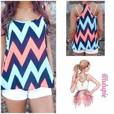 """Chevron Spaghetti Strap Tank Top Wear it with anything, jeans, shorts, or even skirts. Perfect addition to your summer wardrobe. Made of 100% polyester.   Measurements (approx) Small  Bust 33""""  length 25""""  Medium  Bust 35""""  length 25.5"""" Bchic Tops Tank Tops"""