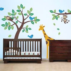 The is the deluxe version of our very popular Tree with Monkeys. It is paired with a branch and set of birds. As a finishing touch we've also included a super cute giraffe! The cute and cuddly monkeys will always put a smile on your child's face. Each animal and leaf are separate decals and can be placed anywhere you wish, so be creative!
