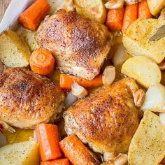 One Pot Chicken & Potatoes, simple & delicious dinner idea. Just toss in the baking dish with seasoning & roast!