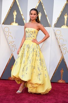 Alicia Vikander Wearing a custom Louis Vuitton dress, heels, and jewelry. Oscars Red Carpet Dresses 2016 | POPSUGAR Fashion