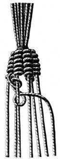 Encyclopedia of Needlework:Macrame. The knot shown is the berry knot