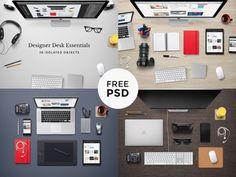Designer desk essentials - PSD   Free Mockups!