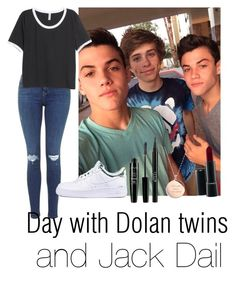 """""""Day with Dolan twins and Jack Dail"""" by autumnfarmer on Polyvore featuring H&M, NIKE, NYX, Stila, Kate Spade and MAC Cosmetics"""
