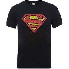 DC COMICS MEN'S TEE: ORIGINALS SUPERMAN SHIELD CRACKLE LOGO