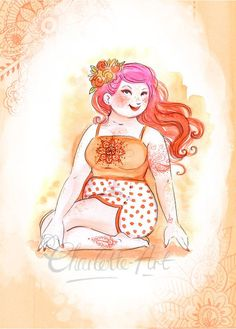 Orange Yoga Sacral Chakra Art Print - Size - Boho - Celebrating Plus Sized Curvy Women Yoga Meditation, Namaste Yoga, Kundalini Yoga, Yin Yoga, Plus Size Yoga, Plus Size Art, Chakra Art, Sacral Chakra, Chakras