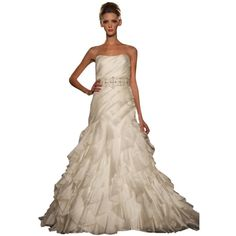 Pre-owned Maggie Sottero White Dress (£835) ❤ liked on Polyvore featuring dresses, white, maggie sottero dresses, white bridal dresses, brides dresses, preowned dresses and maggie sottero