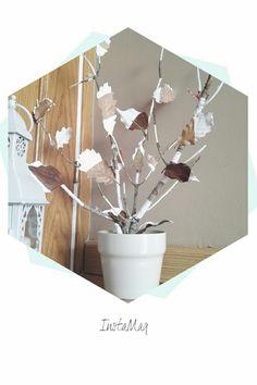 Decoración con hojas pintadas. Brown and white, rústico y nórdico!!