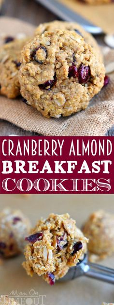 These Cranberry Almond Breakfast Cookies are the perfect grab-and-go breakfast for busy mornings! Extra-healthy and totally delicious, it's the perfect excuse to eat dessert for breakfast! // Mom On Timeout #cookies #cookie #breakfast #oatmeal #brunch #snack #snacktime #craisins #almonds #baking