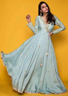 Cadet Blue Angrakha Style Suit In Raw Silk With Pink Net Dupatta Online - Kalki Fashion Designer Anarkali Dresses, Designer Party Wear Dresses, Kurti Designs Party Wear, Lehenga Designs, Dress Designs, Blouse Designs, Indian Fashion Dresses, Indian Gowns Dresses, Dress Indian Style