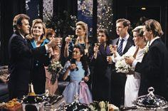 "GENERAL HOSPITAL - Wedding Gallery - shoot date: 5/30/89 Sean (John Reilly), Tiffany (Sharon Wyatt), Bobbie (Jacklyn Zeman), Robin (Kimberly McCullough), Katherine (Edie Lehmann), Anna (Finola Hughes), Robert (Tristan Rogers) celebrate Felicia (Kristina Wagner) and Frisco's (Jack Wagner) wedding on ABC Daytime's ""General Hospital""."