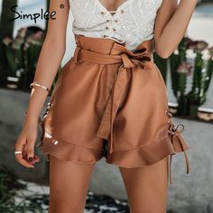 $43.23 - Awesome Simplee Side lace up black Leather shorts Women cinched belt eyelet high waist shorts 2017 autumn camel short paperbag bottom - Buy it Now!