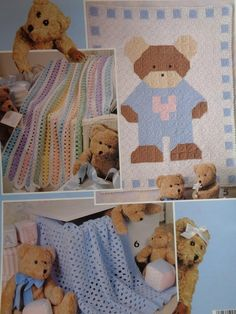 Items similar to crochet patterns Beary Sweet Baby Afghans Leaflet 2774 on Etsy Baby Afghan Patterns, Baby Afghan Crochet, Baby Afghans, Knitting Patterns, Sport Weight Yarn, Craft Patterns, Really Cool Stuff, Teddy Bear, Kids Rugs