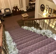 Stunning staircase at Ashfield House dressed in beautiful fresh babies breath. Babies Breath, Civil Ceremony, House Dress, Bridal Flowers, Floral Wedding, Animal Print Rug, Floral Design, Stylists, Fresh