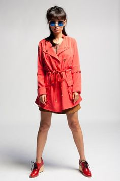 $145 Aryn K Coral Drawstring Trench #trenchcoat #salmon #coral #coat #fashion #ss2012 #arynk